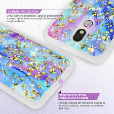 For LG K40/Xpression Plus 2/Solo LTE Phone Case Cover Galaxy Marble Glitter TPU