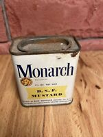 """Vintage Monarch Lion 1 1/4 OZ Advertising Yellow Label Tin """"DSF MUSTARD"""" Product"""