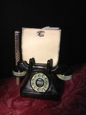 Funny Vintage Ceramic Telephone Set up as Message Center with Pen and Note Paper