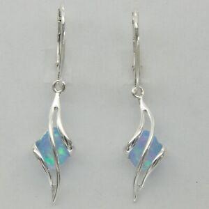 Blue FIRE OPAL Oval Dangle Earrings 925 STERLING SILVER Leverback #247e