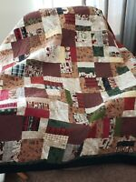 """Woodland Flannel Quilt hand made 72"""" x 72"""" and machine quilted"""