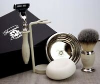 Men's Complete 5 Piece Shaving Set |Gillette Mach3 & Synthetic Brush| Men's Gift