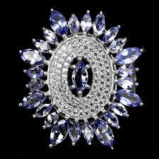 GENUINE GEM Top Rich Blue Violet Tanzanite,W Cz 925 Sterling Silver CLUSTER Ring