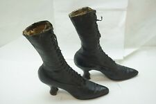 ANTIQUE LADIES SHOES HIGH TOP BOOTS LACE UP VICTORIAN BLACK LEATHER 2.5in HEEL