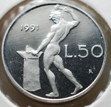 1991   Repubblica Italiana   50  lire  FONDO SPECCHIO  da divisionale