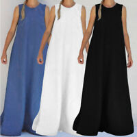 Women Sleeveless Solid Oversized Holiday Beach Party Loose Long Maxi Dress Plus