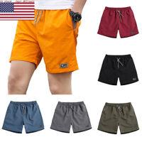 Summer Men Casual Shorts Breathable Shorts Elastic Waist Beach Knee Length Short