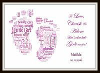 PERSONALISED BABY CHILD BEDROOM NURSERY NAME PRINT BOY GIRL Christening Gift