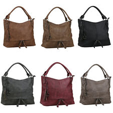 Damen Tasche Shopper Fransen Nieten Reißverschluss Handyfach Leder-Optik 834125
