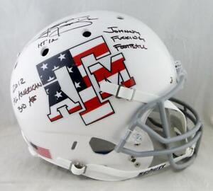 Johnny Manziel Signed A&M Aggies Stars & Stripes F/S Helmet W/3 Insc JSA W Auth