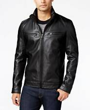 $550 MICHAEL KORS Men BLACK LEATHER BIKER BOMBER WARM MOTO JACKET WINTER COAT M