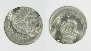 ER053 Mint Error Mexico 1976 5 Pesos Large Date off center, ANACS MS64