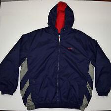 Vtg 90s NIKE Fleece Lined Puffy Winter Hooded Stadium JACKET Orbital Nike Logo