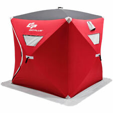Portable Pop-up 4-person Ice Shelter Fishing Tent Shanty w/ Bag Ice Anchors Red
