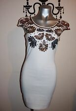 LIPSY LONDON STUNNING BEADED SEQUIN TRIM BODY CON PARTY DRESS SIZE 10