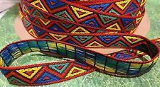"5/8"" Geometric Tribal Brocade Jacquard Ribbon Vintage Costume 5 yards"