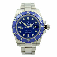 Rolex Submariner 40mm Smurf 18K White Gold Ceramic Blue Dial Mens Watch 116619
