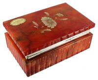 VINTAGE 50'S RED FLOWER DESIGN TRINKET JEWELRY BOX ALABASTER ITALY PRETTY