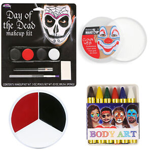 Halloween Face paint Black White Red Day of the Dead Face Makeup Fancy Dress
