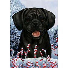 Winter House Flag - Black Puggle 15280