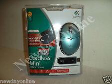 Logitech Cordless Mini Optical Blue Mouse w/Scroll-Wheel Dongle 931435-0403 NEW