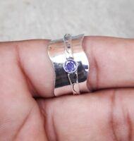 Amethyst 925 Sterling Silver Spinner Ring Meditation Ring Size SRR08