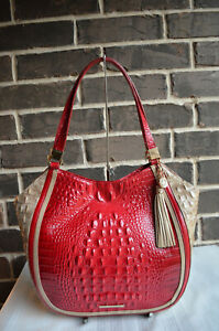 NWT $355 BRAHMIN MARIANNA LEATHER SHOULDER BAG Ember Fuego red brown