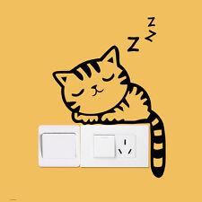 Lindo dormir Gato Interruptor decoración vinilo adhesivo pared arte de Hogar