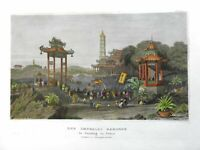 Imperial Gardens Nanjing China Qing Empire Imperial Court 1850 engraved view