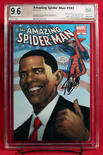 AMAZING SPIDER-MAN #583 PGX (not CGC) 9.6 NM+ OBAMA 3rd Printing signed STAN LEE