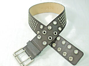 """Cache Woman's Sz S Wide Brown Leather Belt Studded Silver Hardware Waist 30""""/32"""""""