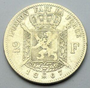 BELGIUM 2 FRANCS 1867 OLD SILVER COIN