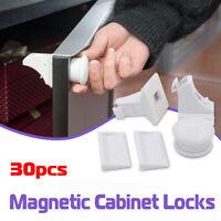 30x Magnetic Cabinet Safety Locks Child Baby Proof Cupboard Drawer Door Kitchen