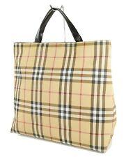 Authentic Burberry Brown Nova Check Canvas Tote Handbag Purse #31012