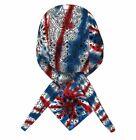 American Flag Bandana Head Wrap | Tie Dye Cap Patriotic Doo Rag Red White Blue