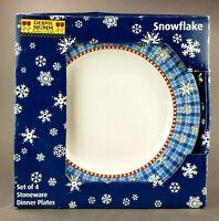 "Debbie Mumm Snowflake Dinner Plates Set of 4 Sakura Winter 11"""