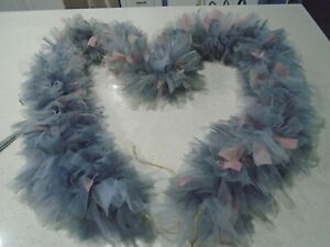 Hand Tied Tulle Garland Swag 6' in Tones Blush and Grey  Party Wedding