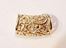 NEW WOMENS FILIGREE OBLONG GOLD FASHION SCARF RING/HOLDER/SLIDER W/ RHINESTONES