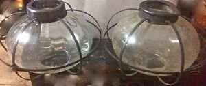 2 Caged Glass Lamp Shades Hanging Light Metal Hinkley style cape cod