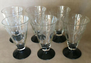 Cocktail Glasses • Set Of 6 • Art Deco Etched Glass Depression Glass