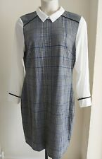 Ladies size 18 formal SHIRT DRESS 2 in 1 checked TWEED look NEW - FREE POST