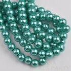 50pcs 8mm Pearl Round Glass Loose Spacer Beads Jewelry Making Lake Green