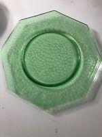 "L.E. SMITH GREEN URANIUM GLASS 8"" OCTAGON SALAD PLATES ""By Cracky"""