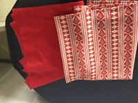 Vintage 2 pieces 1 Solid 1 Print Red Polyester Double knit fabric 1960'/70's