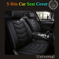 Universal 6D Full Surrounded Car 5 Sits Seat Cover Set Black PU Leather Cushion