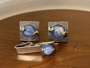 Swank Silver Tone Blue Marble Pair Of Square Cufflinks Tie Clip Great Shape