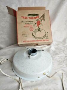 Holly Time Artificial Christmas Tree Turner With music Works Orig Box 1964