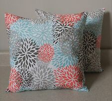 2 euro floral blossom blooms pillow covers shams 24 x 24 coral teal grey Byram