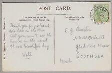 1907 Postcard sent to C.J. Barton, C/o Mrs Bidwell, Gladstone House, Southsea