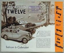 AUSTIN TWELVE ASCOT Saloon & Cabriolet Car Sales Brochure 1938 #1677/4